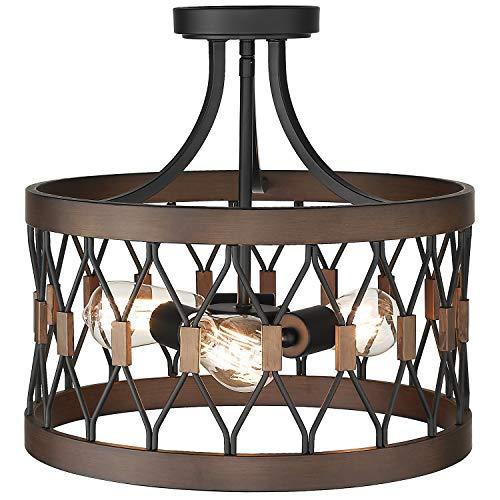 Osimir Semi-Flush Mount Ceiling Light, 3-Light Ceiling Light Fixture, 16-inch Cage Drum Pendant Hanging in Wood and Black Finish, PE9170-3