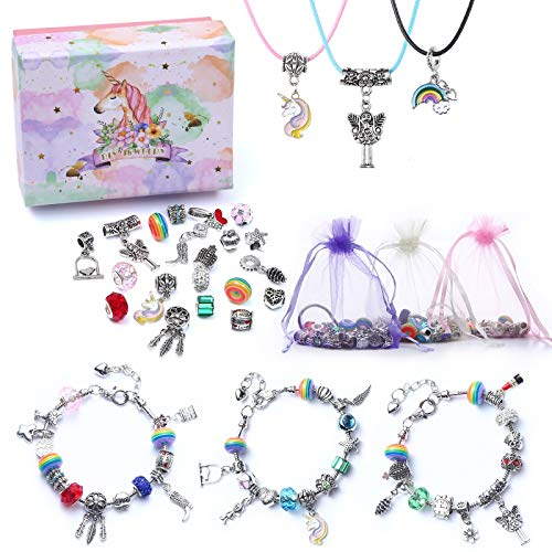 Girls Charm Bracelet Making Kit-DIY Jewellery Making Kit for Kids, Craft Sets for Girls Ages 8-12 Party Favor Jewellry Gifts for Teens Girls, DIY Silver Plated Bead Snake Chain Jewelry Bracelet