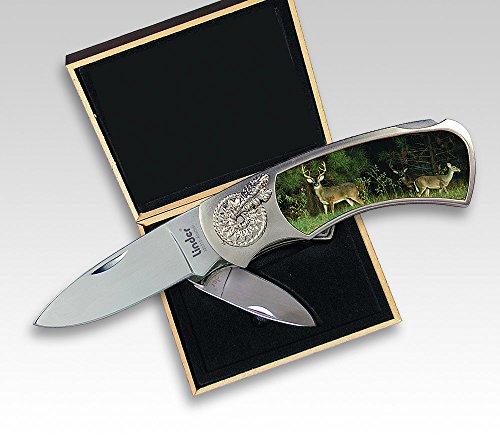 Linder Schließmesser, rostfrei 10 cm, Hirsch, Geschenkbox, Klappmesser