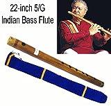 Flauto traverso indiano bansuri in bassa tonalità, in spesso bambù bruciato, tonalità 5, 56 cm, con custodia in velluto