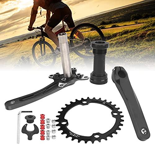FOLOSAFENAR 32T Kettenblatt mit Kurbelarm, CNC Exquisite Verarbeitung 170mm Mountainbike Kurbel Hohe Wellenfestigkeit mit Tretlager für Fahrrad