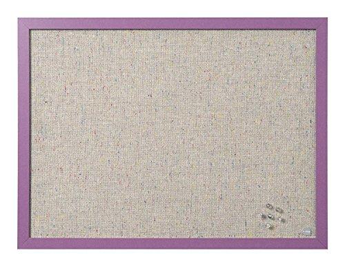 Bi-Office Pinnwand Lavender, Notiztafel mit Perlenfarben Textiloberfläche, Violett MDF Rahmen, 22 mm dicker, 60 x 45 cm