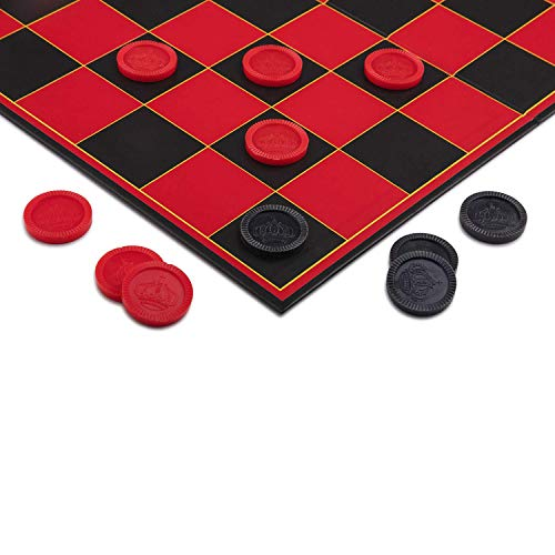 Point Games 2307 Checkers Game mit Super Durable Board-Indoor/Outdoor Fun Brettspiel für alle Altersgruppen, rot schwarz