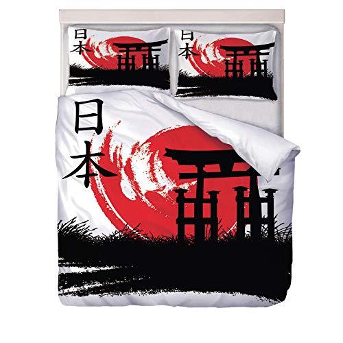 FSXMPL Funda Nórdica Cama 135/150-220X230Cm 3 Piezas Incluye Una Funda NóRdica Dos Almohada Cubierta Colcha Lavable CóModo Ropa De Cama Conjunto,Bandera Japonesa patrón 3D