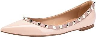 CAMSSOO Women's Classic Rivets Pointy Toe Slip On Comfort Flats Dress Pumps Shoes Nude Patant PU Size US 8.5 EU41