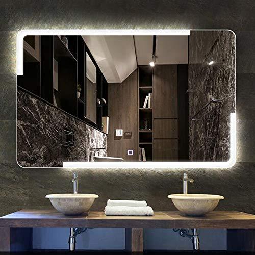 Miroir de salle de bain Rectangulaire, Miroir Intelligent sans Cadre Et Anti-BuéE sans Cadre - Interrupteur Simple Touche - LumièRe Blanche/Chaleureuse - 600 * 800mm