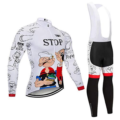 Moxilyn Abbigliamento Ciclismo da Uomo,Maglia Manica Lunga+Pantaloni Lunghi,Cuscino Gel 20D,Moda Set Completo,Abbigliamento Sportivo per Bicicletta,Ciclismo Ciclismo Jerseys per Uomo