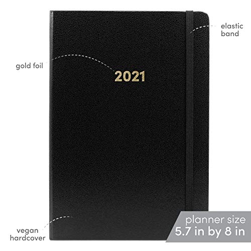 Product Image 2: Planner 2021 Hardcover with Weekly and Monthly Plan, 12 months, 5.7 x 8 in, BLACK- with vegan leather cover, elastic closure, 2 bookmarks, dotted notes pages- January through December 2021