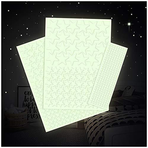 Leuchtfolie 517 Sterne für Sternenhimmel starke Leuchtkraft im Dunkeln Wandsticker Aufkleber selbstklebend fluoreszierend nachtleuchtend (K010 Sterne)