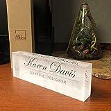 Artblox Office Desk Name Plate Personalized | Custom Name Plates for Desks on Acrylic Glass Decor | Office Desk Decor Nameplate | Desk Accessories | White Marble Design - (8'x2.5')