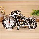 OFT Vintage Motorrad Alarm Clock Wecker Motorcycle Tischuhr Quartzuhr Standuhr (Oddiyana+gold)