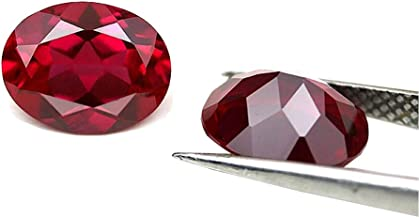 Ximimark 10Pcs Oval Shape Cut Red Ruby Mozambique Loose Gemstone 7x5mm