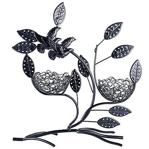 Coralpearl - Soporte de exhibición de metal para colgar en la mesa, collar y pulsera, organizador para 44 pares de pendientes con base de raíz para mujeres y niñas (2 pájaros nido negro)