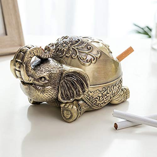 SHUNHUI Retro Aschenbecher Metall Kreative Elefant Aschenbecher Restaurant Wohnzimmer Couchtisch Winddichte Abdeckung Aschenbecher Kreatives Geschenk Vatertagsgeschenk