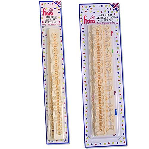 FMM, Ausstechformen, Art-Deko, Alphabet, Zahlen und Kleinbuchstaben, 2 Stück