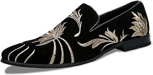 CHENDX Chaussures, Mode pour Hommes Oxford Décontracté Confortable Chaussures à Semelle compensée en Cuir suédé avec Top Classique (Couleur   Noir, Taille   46 EU)