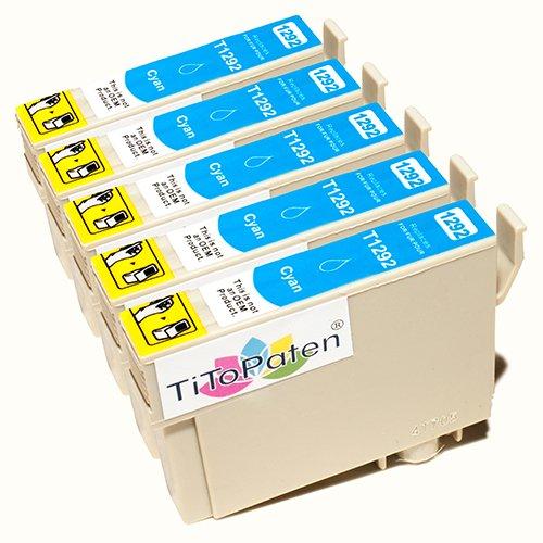 *TITOPATEN* 5X Epson Workforce WF 3540 DTWF kompatible XL Druckerpatrone ersetzt Typ T1291-1294 - Cyan - Patrone MIT CHIP !!!