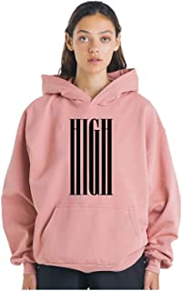 THE SV STYLE Unisex Dusty Pink Hoodie with Print: HIGH/Printed Pink Hoodie/Graphic Printed Hoodie/Hoodie for Men & Women/Warm Hoodie/Unisex Hoodie