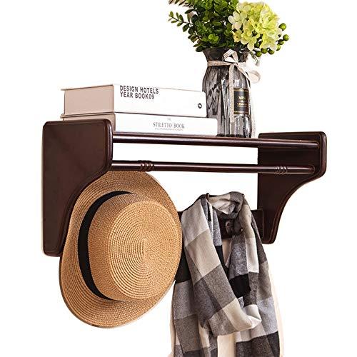 Perchero de pared para colgar en la entrada, de madera, estilo rústico, con 4 ganchos de metal dobles para la entrada, baño, dormitorio, cocina, fácil de montar