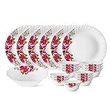 Larah by Borosil Rose Red Silk Series Opalware Dinner Set, 19 Pieces, White