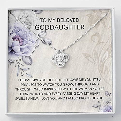 Personalized Necklace Gift, Goddaughter Gifts from Godmother- Goddaughter Baptism, Goddaughter Love Knot Necklace, First Communion, Girl Birthday, Christening, With Message Card & Box V22