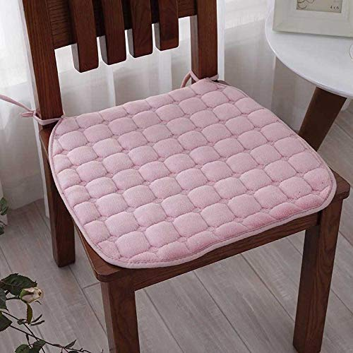 Winter Solid Color Velvet Dining Chair Seat Cushion Thicken Non Slip Chair Cushions For Student Office-Pink_40X40Cm,2Pcs
