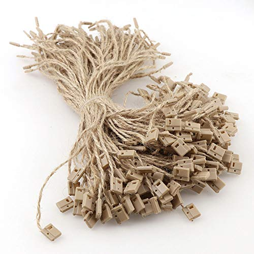 """7.8""""Hemp Twine String 1000 Pcs Hang Tag Fasteners Natural with Snap Lock Ties Easy and Fast to Attach Swing Tags Jute String"""