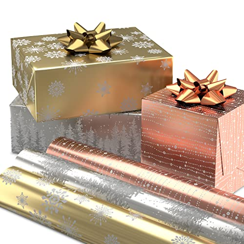 Hallmark Foil Christmas Wrapping Paper with Cut Lines on Reverse (3 Rolls: 60 Sq. Ft. Ttl) Rose Gold, Silver Trees, Gold Snowflakes for Holidays, Hanukkah, Winter Solstice, Weddings, Graduations