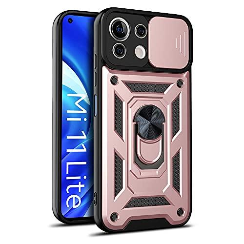 LOCLOUD Funda para Xiaomi Mi 11 Lite 5G / 4G, Protección de la Cámara Carcasa con Cubierta de Cámara Deslizante y Soporte de Anill PC Dura y TPU Silicone Anti-Choque Anti-arañazos Case – Oro Rosa