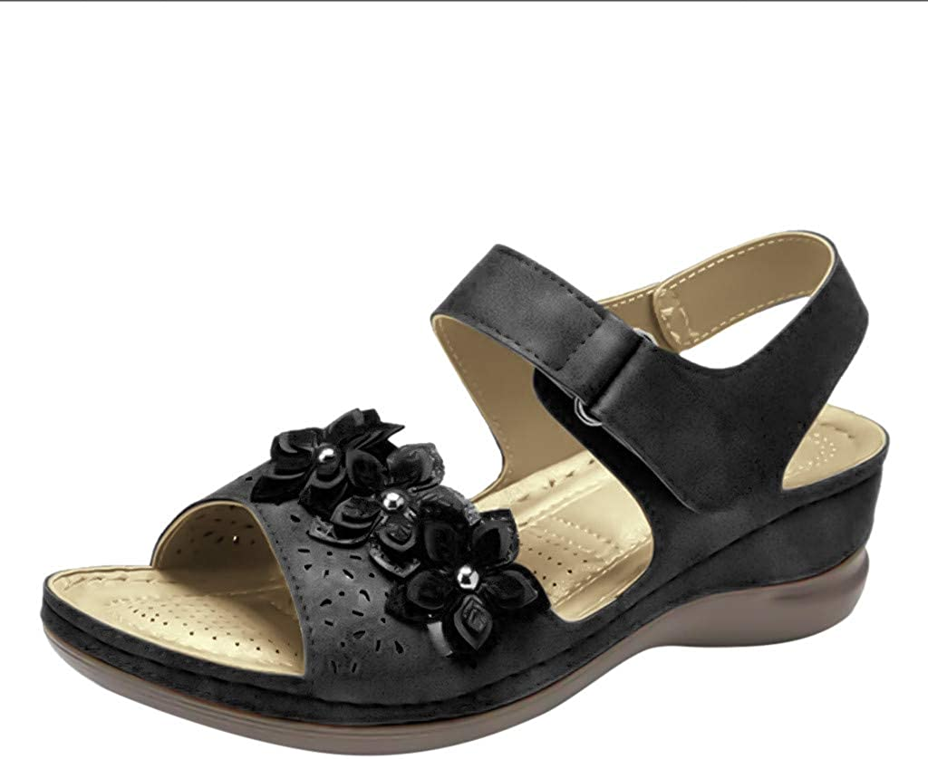 Women's Wedges Slides, Ethnic Style Shoes Beach Casual Open Toe Slippers Sandals TRENDINAO