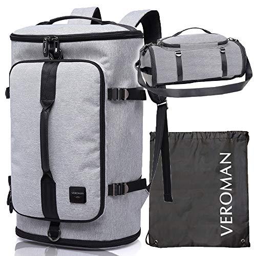 [Veroman] スポーツリュック メンズ ジムバッグ 大容量 防水 シューズ収納 (30L, ライトグレー(防水袋つき))