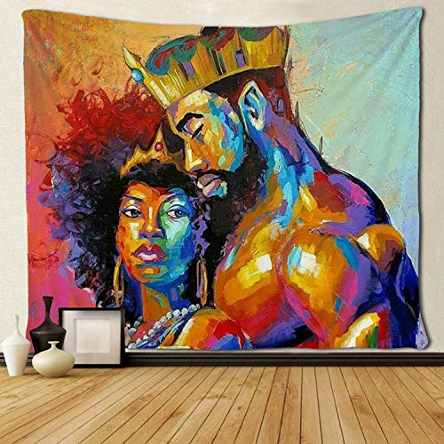 SARA NELL Tapestry African American Lovers Couple Oil Painting Tapestries Wall Art Hippie Bedroom Living Room Dorm Wall Hanging Throw Bedspread 50'×60' (50'×60', African King and Queen)