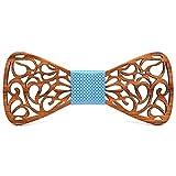 BOBIJOO Jewelry - Papillon in Legno Scuro, Baffi, Fatto a Mano, tipo' Man-in-la Scelta Gentiluomo Cravatta - Regolabile, N06