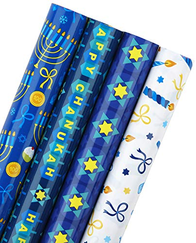 WRAPAHOLIC Hanukkah Wrapping Paper Roll - Menorahs, the Star of David, Candles Design for Chanukah Celebration - 4 Rolls - 30 Inch X 120 Inch Per Roll