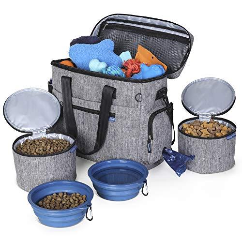 Dog Travel Bag for Supplies - Make Travel Easier with our Dog Bag for Travel - Includes Pet Travel Bag Organizer, 2 Collapsible Dog Bowls, 2 Dog Food Travel Bag - Dog Travel Bags for Dogs on the Go