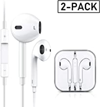 Earbuds/Earphones/Headphones, Premium in-Ear Wired Earphones with Remote & Mic Compatible Apple iPhone 6s/plus/6/5s/se/5c/iPad/Samsung/MP3(White 2Pack)