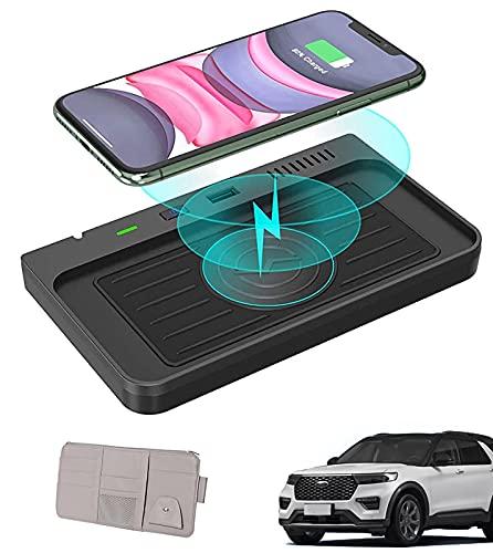 sZeao Cargador Inalambrico Coche Compatible con Ford Explorer 2021 2020, Carga Rápida Inalámbrica de 10W, con Organizador de Visera Solar para Coche, Compatible para iPhone Qi Smartphone