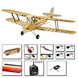 Upgrade Balsa Wood Airplane Kits Mini Tiger Moth, 39' Laser Cut RC Plane Kit to Build for Adult, Radio Controlled Airplane Aircraft Unassembled Fly Model with Power System+TX/RX601(Left Hand Throttle)