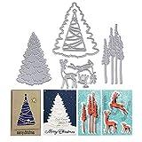 5pcs Troqueles Navidad Scrapbooking de Metal Reno �rbol de Navidad Troqueles de Corte Plantillas Dies Cut Tarjeta Papel Decoración Manualidades