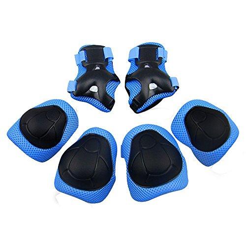 GIM Schoner Set Kinder Protektoren Sets Schützer Skateboard Schutzausrüstung Knieschoner Knieschützer Inline Jungen Mädchen (Blau)