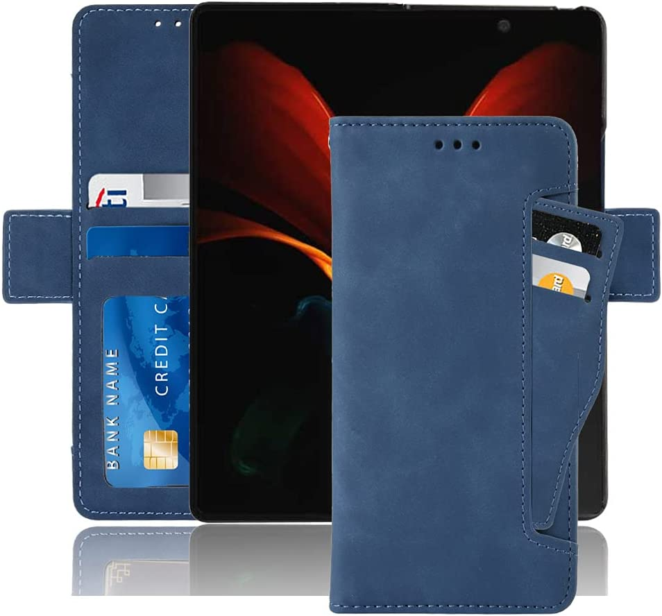Hackers' Galaxy Z Fold 2 5G Case, Galaxy Z Fold 2 Wallet case, Classic Leather Wallet Foldable Case with Credit Card Holder Slots Flip Wallet Case for Samsung Galaxy ZFold2 5G - (Blue)
