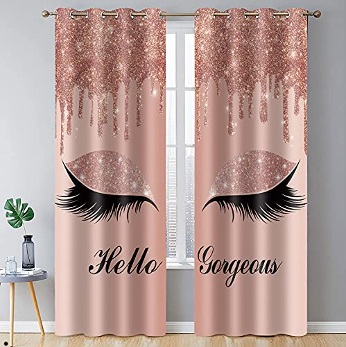 """BSPPTI Hello Gorgeous Unicorn Eyelash Print Curtain, Rose Gold Drips (No Glitter No Sequin) Room Darkening Thermal Insulated Blackout Window Drapes for Living, Bedroom, 42""""x 84"""", 2 Panels, CLLSSP22"""