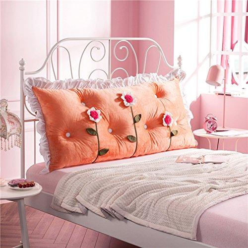 JXXDDQ Tête de lit Coussin Coussins Fleurs Grand Dos Tissu Art Double Oreiller Multifonction Lavable, 8 Couleurs, 3 Tailles (Color : Orange, Size : 120x70cm)