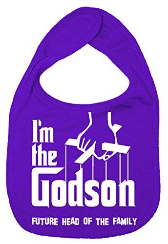 IIE Bavoir unisexe pour bébé avec inscription I'm The Godson, Future Head of Family Violet