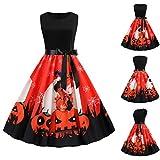 Mujer Vestidos Vintage sin Mangas de Cráneo Halloween Mejor Venta Fantasma Fiesta Noche Baile Vestido Disfraces Swing Cosplay Dress