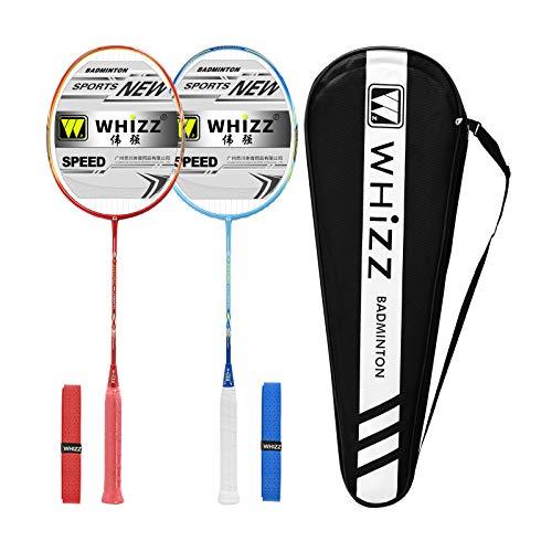Whizz Kratzfestes Design Carbon Badminton Set Schläger Racket Ultraleicht Graphit 2 STK mit Schlägertasche & 2 Griffbänder (Sword Blau+Rot)