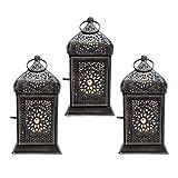 Farol decorativo de metal con vela de té oriental para colocar y colgar, 3 galones y zigzag