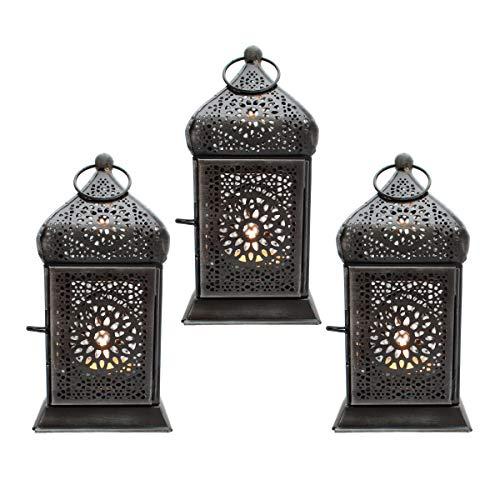 Gall&Zick, set lanterna decorativa, 2set, metallo, argento, luce orientale, da appendere o da posizionare in modo verticale