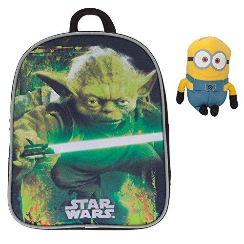 Fabrizio Kinderrucksack Kindergartenrucksack Star Wars/Disney Cars Yoda Darth Vader + Minion Figur 15 cm (Star Wars Yoda 9004)