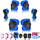 Kids Protective Gear Set, Kids Knee Pads Skateboard 6 In 1 Elbow and Knee Pads for Children,Wrist Guards Skateboarding Protective Gear Kids with Adjustable Strap Pads For Skating Biking Cycling Roller